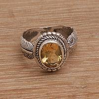 Citrine cocktail ring, 'Band of Feathers'