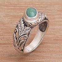 Turquoise cocktail ring, 'Center of Growth' - Handmade 925 Sterling Silver Turquoise Cocktail Ring