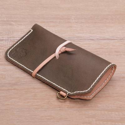 Novica Leather glasses case, Lavish Leather in Dark Taupe