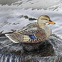 Wood statuette, 'Elegant Mallard' - Hand Painted Wood Female Mallard Duck Statuette from Bali