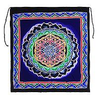 Rayon batik wall hanging, 'Rainbow Petal Mandala'