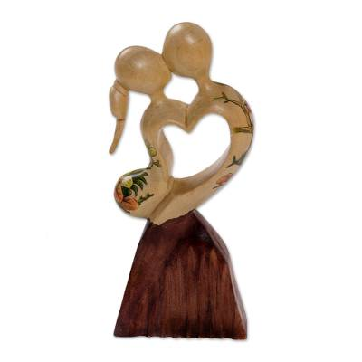 Wood statuette, 'Loving Dance' - Hand Carved Jempinis Wood Romantic Statuette from Bali