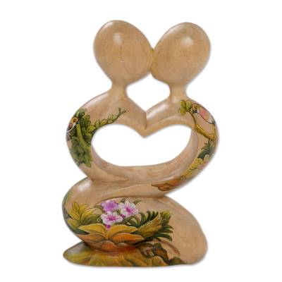 Wood statuette, 'Blossoming Romance' - Hand Carved Jempinis Wood Romantic Statuette from Bali