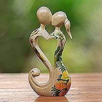 Wood sculpture, 'Heartfelt Embrace' - Hand Carved Balinese Jempinis Wood Romantic Statuette