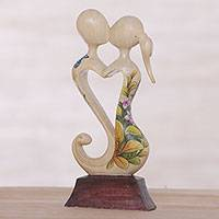 Wood statuette, 'Love Blossoms Between Us' - Hand Carved Balinese Jempinis Wood Romantic Statuette