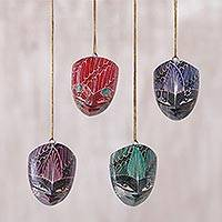 Wood batik ornaments, 'Parang Warriors' (set of 4)