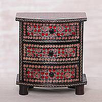 Wood batik jewelry box, 'Kawung Secrets'