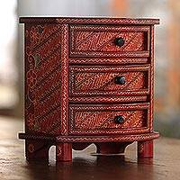 Wood batik jewelry box, 'Scarlet Scrolls'