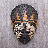 Wood batik mask, 'The Sultan' - Batik Motif Albasia Wood Mask Hand Painted in Java