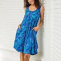 Batik rayon dress, 'Leafy Grove' - Blue Tie-Dyed Batik Leafy Grove Rayon Sleeveless Tunic