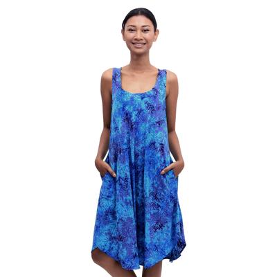 Batik rayon dress, 'Leafy Grove' - Blue Tie-Dyed Batik Leafy Grove Rayon Sleeveless Tunic