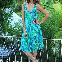 Batik rayon dress, Leafy Path