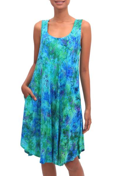Batik rayon dress, 'Leafy Path' - Blue and Green Tie-Dyed Batik Leaves Sleeveless Rayon Dress