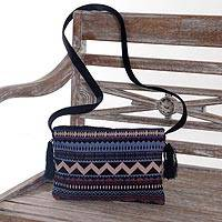 Cotton sling handbag, 'Ancient Paradise' - Hand Made Geometric Patterned Cotton Sling Bag from Bali