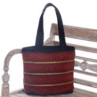 Cotton tote bag, 'Songket Dream' - Hand Woven Red and Black Cotton Songket Tote Bag with Zipper