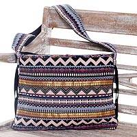 Cotton shoulder bag, 'Lucky Paradise' - Handwoven Multi-Colored Cotton Shoulder Bag with Pockets