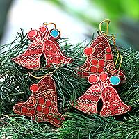 Wood batik ornaments, 'Java Jingle' (set of 4) - Batik Wadang Wood Bell Ornaments (Set of 4) from Java