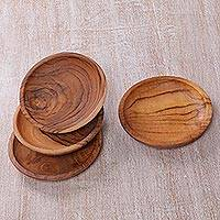 Teakwood coasters, 'Nature's Grain' (set of 4) - Set of 4 Hand Carved Teakwood Coasters from Bali
