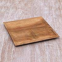 Teakwood appetizer platter, 'Natural Balance' - Hand Carved Balinese Teakwood Appetizer Platter
