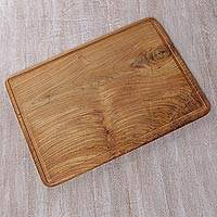 Teakwood cutting board, 'Joyful Cooking' - Hand Carved Teakwood Cutting Board from Bali