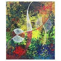 'Balance of Nature' - Signed Wave Motif Abstract Painting from Java