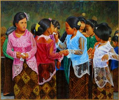 'Friendship' (2016) - Painting of Girls in Traditional Clothes from Java (2016)