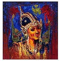'Srikandi Portrait' - Signed Expressionist Painting of Srikandi from Indonesia