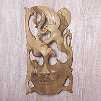 Wood wall mask, 'Nature Soaring'
