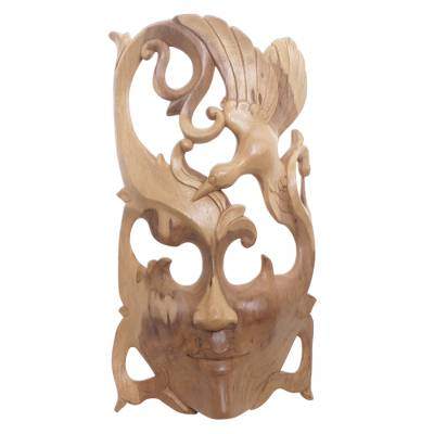 Wood wall mask, 'Nature Soaring' - Hand Crafted Balinese Hibiscus Wood Wall Mask