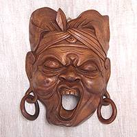 Wood mask, 'Balinese Rage' - Hand Carved Suar Wood Mask from Bali