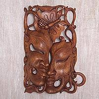 Wood mask, 'Monarch Twins' - Hand Crafted Balinese Suar Wood Wall Mask