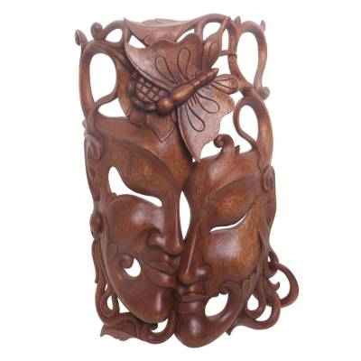Hand Crafted Balinese Suar Wood Wall Mask