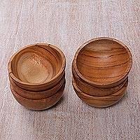 Teakwood prep bowls, 'Salty Sphere' (set of 6) - Hand Carved Set of Six Natural Teakwood Prep Bowls