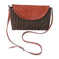 Cotton and leather accent sling bag, 'Daytime Stripes' - Striped Cotton Sling Bag with Leather Accents