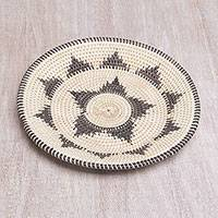 Palm leaf decorative basket, 'Daybreak Weave' - Star Motif Natural Palm Leaf Decorative Basket from Bali
