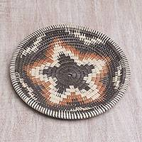 Palm leaf decorative basket, 'Starlight Weave' - Star Motif Palm Leaf Decorative Basket from Bali