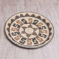 Palm leaf decorative basket, 'Natural Weave' - Artisan Crafted Palm Leaf Decorative Basket from Bali