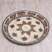 Palm leaf decorative basket, 'Wangi Beauty' - Intricate Handwoven Palm Leaf Decorative Basket from Bali