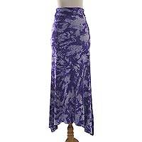 Tie-dyed rayon jersey maxi skirt, 'Aspiring Purple' - Purple and White Tie Dye Long Rayon Skirt from Indonesia