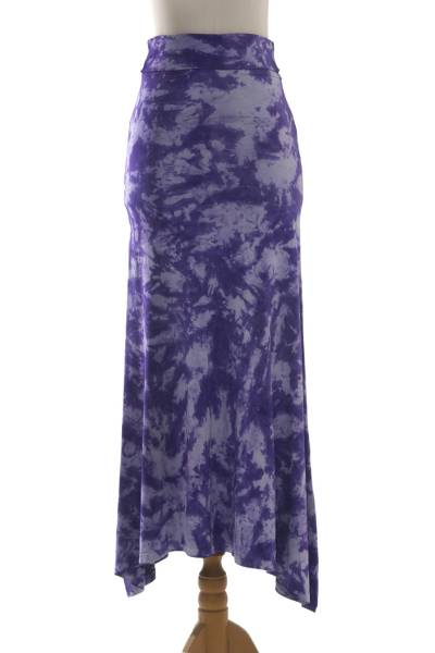 Purple and White Tie Dye Long Rayon Skirt from Indonesia