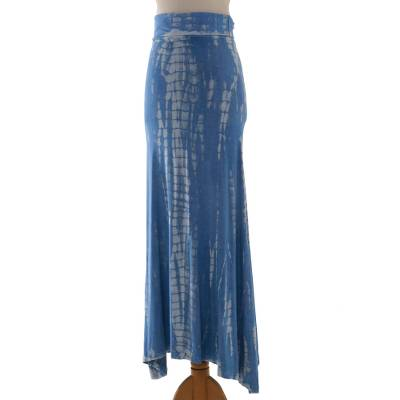 Tie-dyed rayon blend jersey maxi skirt, 'Aspiring Blue' - Blue and White Tie Dye Long Rayon Blend Skirt from Indonesia