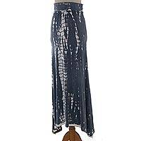 Tie-dyed rayon jersey maxi skirt, 'Welcome Summer' - Black and Dark Grey Tie Dye Long Maxi Rayon Boho Skirt