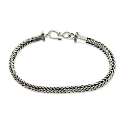 Sterling silver bracelet, 'Dragon Bone' - Handmade Balinese Sterling Silver Unisex Bracelet