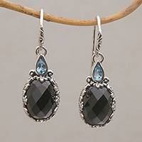 Onyx and blue topaz dangle earrings, 'Palatial Horizon' - Handmade Onyx and Blue Topaz Sterling Silver Dangle Earrings