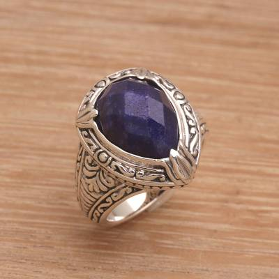 combined silver ring electrode color - Handmade Balinese Sapphire and Sterling Silver Cocktail Ring