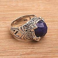 Sapphire cocktail ring, 'Regal Serenity' - Handmade Balinese Sapphire and Sterling Silver Cocktail Ring