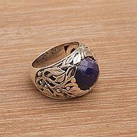 Sapphire cocktail ring, 'Forest of Serenity' - Handmade Balinese Sapphire and Sterling Silver Cocktail Ring