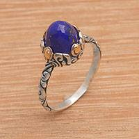 Gold accented lapis lazuli solitaire ring, 'Majestic Bloom' - Lapis Lazuli Sterling Silver Ring with Gold Accents