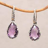 Gold accented amethyst dangle earrings, 'Ancient Majesty' - Balinese Amethyst and Sterling Silver Dangle Earrings