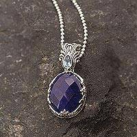 Sapphire and blue topaz pendant necklace, 'Blue Unity' - Sapphire and Blue Topaz Sterling Silver Pendant Necklace